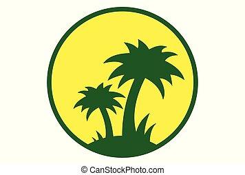 島, 日没, ロゴ, ベクトル