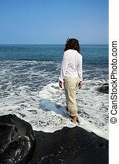 島, 砂ビーチ, 黒, 大きい