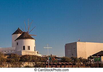 島, 風車, oia, 骨董品, 伝統的である, santorini, 都市