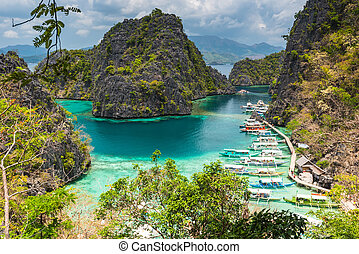 島, coron, kayangan, 湖, busuanga, palawan, 礁湖, フィリピン, 光景