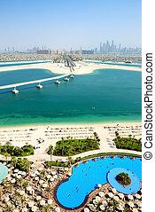 島, jumeirah, やし, 人工である, 光景, uae, ドバイ