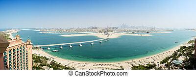 島, jumeirah, パノラマである, やし, 人工である, 光景, uae, ドバイ