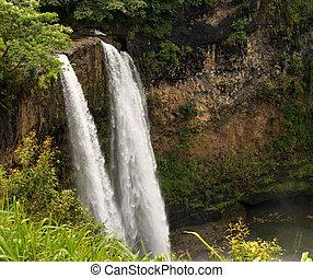 島, wailua, kauai, ハワイ, 落ちる