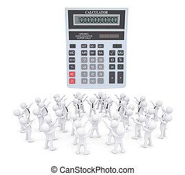 崇拜, 计算器, 团体, 白色, 人们