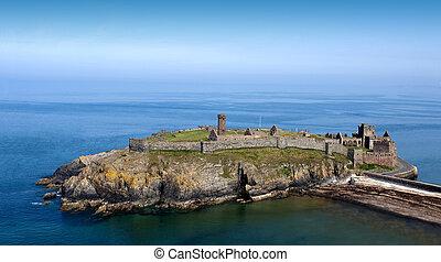 崖, 島, 城, 古代, 海