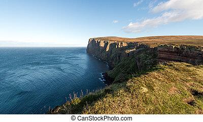崖, hoy, スコットランド, orkney, 島