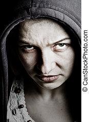 嵌接, 險惡, 婦女, 由于, 鬼, 邪惡, 眼睛