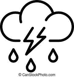 嵐, スタイル, アイコン, 雲, アウトライン, 雨