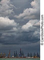 嵐, 上に, コマーシャル, 港, クレーン, ∥において∥, 底, の, ∥, フレーム