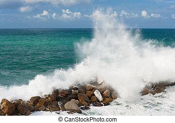 嵐, 中に, ∥, ligurian, 海