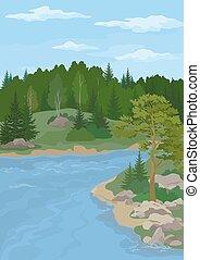 川の景色, 木