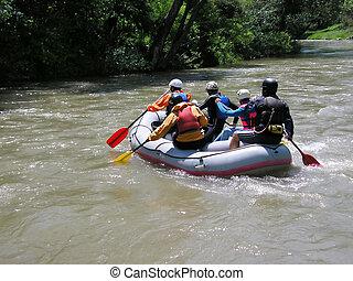 川, いかだで運ぶこと