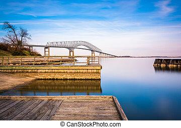 川, さらされること, maryland., 長い間, 公園, 桟橋, スコット, patapsco, キー, ...