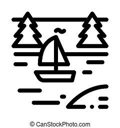 川, アウトライン, ベクトル, 風景, ボート, アイコン, イラスト