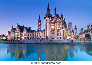 川, ゲント, ベルギー, europe., 銀行, leie