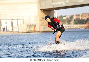川, サーフィン, 横切って, wakeboarder