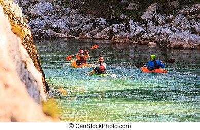 川, スロベニア, カヤックを漕ぐ, soca