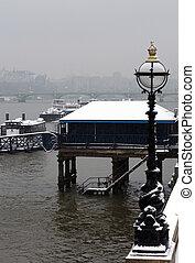 川, ロンドン, 冬, thames