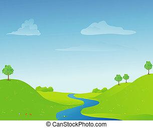 川, 中に, 春