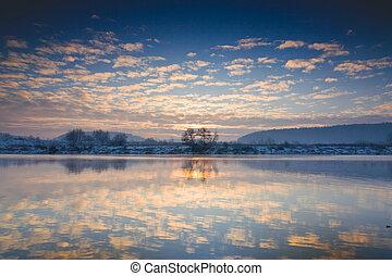 川, 冬, 日の出, 上に