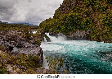 川, 曇り, petrohue, 天候, チリ