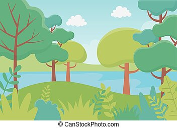 川, 森林, 群葉, 風景, 草木の栽培場, 自然, 木, イメージ