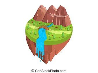 川, 等大, 自然, 山