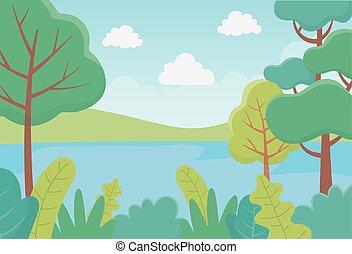 川, 群葉, 風景, 草木の栽培場, 葉, 自然, 木, 薮, イメージ
