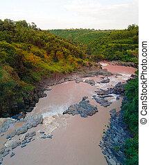 川, awash, エチオピア, パノラマ, 急流