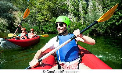 川, canoeing, 人