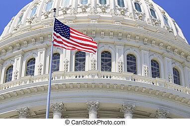 州議會大廈, 招手, 華盛頓, 細節, 屋頂, dc, 美國旗