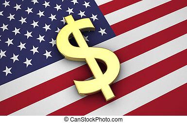 州, ドル, 合併した, 旗, アイコン