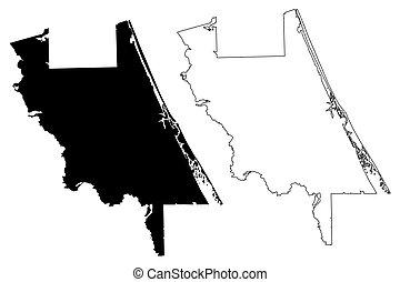州, フロリダ, アメリカ, us), 地図, ベクトル, 合併した, スケッチ, (u.s., 落書き, イラスト, ...