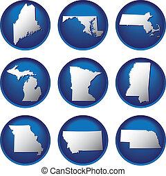 州, ボタン, 合併した, 9