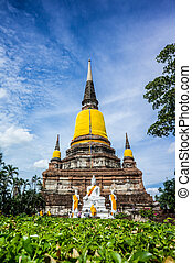 州, 仏教, 古い, ayuthaya, シェ, mongkhon, yai, タイ, ワット, 寺院