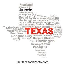 州, 単語, テキサス, 雲