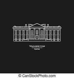 州, 合併した, 家, ワシントン, 1, 白, アイコン