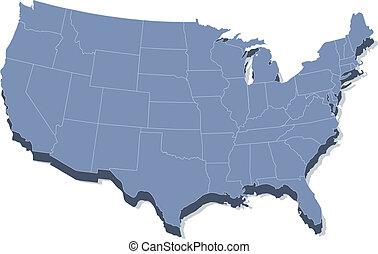 州, 地図, アメリカ, 合併した, ベクトル