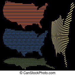 州, 地図, 合併した, セット
