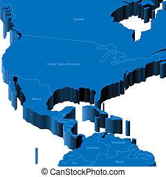 州, 地図, 合併した, 3d