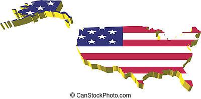 州, 地図, 合併した, 3d, vectors