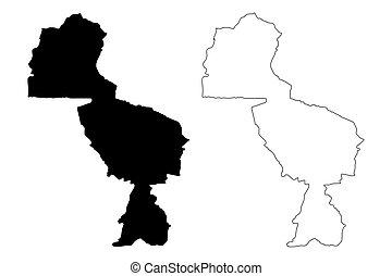 州, 地図, 州, イラスト, (republic, zimbabwe), ベクトル, ジンバブエ, スケッチ, ...