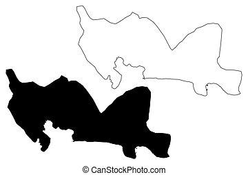 州, 地図, 州, domingo, ドミニカ人, イラスト, スケッチ, (dominican, hispaniola...