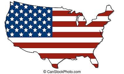 州, 地図, 旗, 合併した, ベクトル