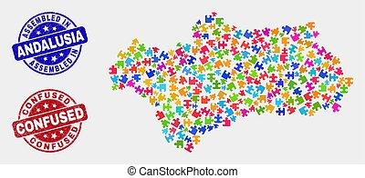 州, 地図, 苦脳, 切手, 混乱させられた, 束, シール, andalusia, 組み立てられた