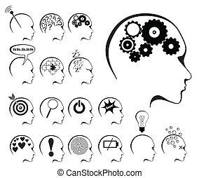 州, 脳, セット, アイコン, 活動