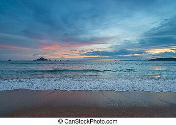 州, ao, krabi, 海, nang, タイ, 浜, 日没, 光景