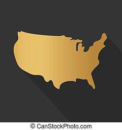 州, map-, 金, ベクトル, イラスト, 合併した