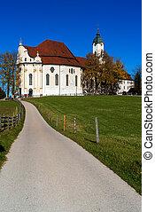巡礼, wies, bavaria, 教会, ドイツ, (wieskirche), アルプス
