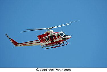 巡邏, 直升飛机, ......的, 消防人員, 在, 藍色的天空, 在上方, a, 火, 10